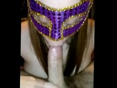 Girlfriend gives blowjob in mask