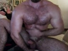 Stud playing roughly with his Dildo