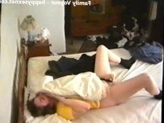 Real hidden cam. My mom masturbating on bed