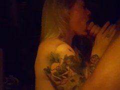 Inked girl gives incredible blowjob.
