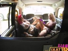 Female Fake Taxi Pussy licking and dildo fucking orgasms with redheads sex