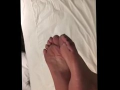 Warming up Maira Latina soles with a light foot spanking