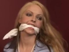 Blonde with miniskirt bound and gagged