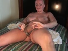hot blonde with big tits masturbating with strange objects on spring break