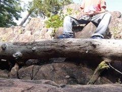 Wank on a rock & a tree trunk #3