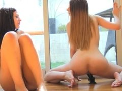 two hot lesbians fuck one dildo