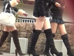 Sexy asian teens & MILFs in miniskirts expose their big asses on hidden cam