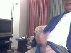 Older Asian Daddy pissing while jerking
