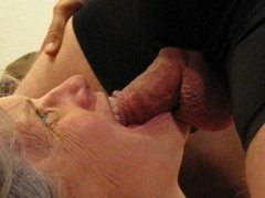 Granny Blowjob with Ball Licking, Tounge Play and Cum Eating