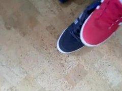 Teen sneaker play and jerk off