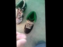 Fuck and cum on messy sneakers