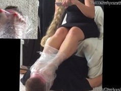 wrapped around her feet. intense feet sniffing. lucky footslave!