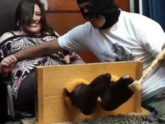 Camila tickling in the stocks!!!