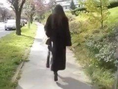 Julie Skyhigh in Sable Fur Coat & High Heel Boots