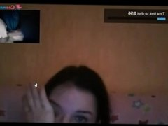 Reacciones de nenas al ver mi polla en la web cam . Corrida al final
