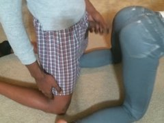 Hubby Jacks Off On Wifes Tight Jeans