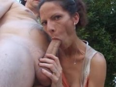 Anorexic wife gives a reacharound handjob