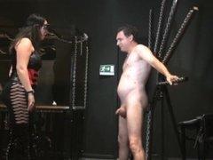 Mistress slips while giving hard kicks in the balls!