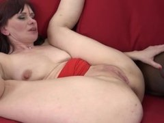 Redhead cougar gets black cock anal and creampie