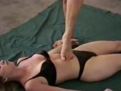 Mistress tramples slave girl. Again.