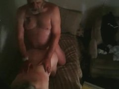 Sweating with the oldies - Oversized older couple get it on doggie style