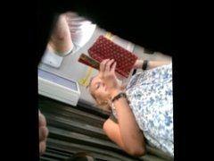 Bus upskirt of hot blondie girl with period pad