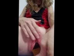 Requested, slapping pussy with hairbrush and sliding it into pussy, brutal!