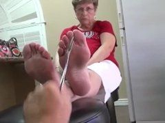 Blonde Granny Smelly Feet Soles