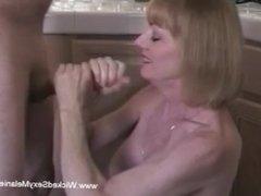 Blonde MILF Doing Some Extra Handjob for Hubby