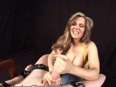 Big tits Handjob titty fuck foodjob Milf restrained male