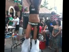 go-go dancing in the street-hottest sexiest dancer ever