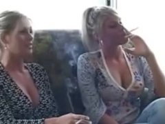 mother and daughter smoking as family