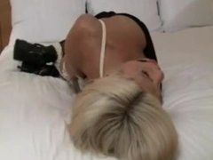 Blonde on bed