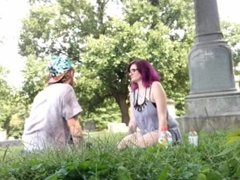Outdoor pussy eating in the cemetery