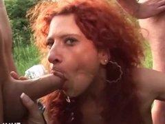 Busty German Moms fuck in public park