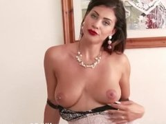 Brunette Roxy Mendez with big tits toys pussy in vintage nylon and lingerie