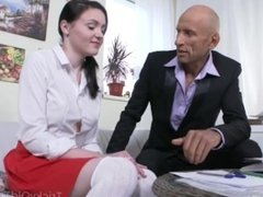 Tricky Old Teacher - English teacher is there to give her