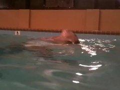 2 girls wet socks in pool