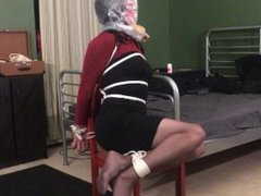 Tranny Bound to Chair - Hung and Bagged