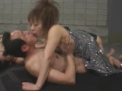Japanese sperm queen giving a steamy blowjob as she gets licked