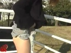 Japanese girl farts on the street 3