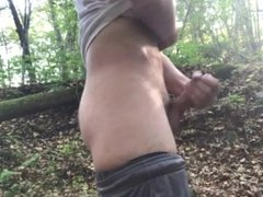 OUTDOOR JACK OFF IN THE WOODS