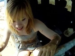 stuck car in mud jeep Girl in cowboy boots