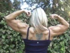 Flexing big biceps