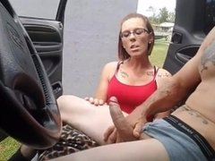 Hot redhead watches stud jerkin then gives him a blowjob