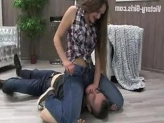 Dominant woman pins man