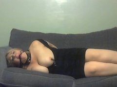 Elle Moon BBW Tied Up on Couch, Ball Gagged, Nipple Clamps, Struggling and