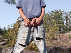 Edging standing on a rock at the sight of everyone in my wank's jeans #1