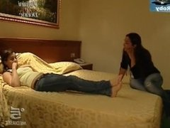 Italian Actress shows soles in Interview