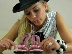 cute girl spitting in high heels